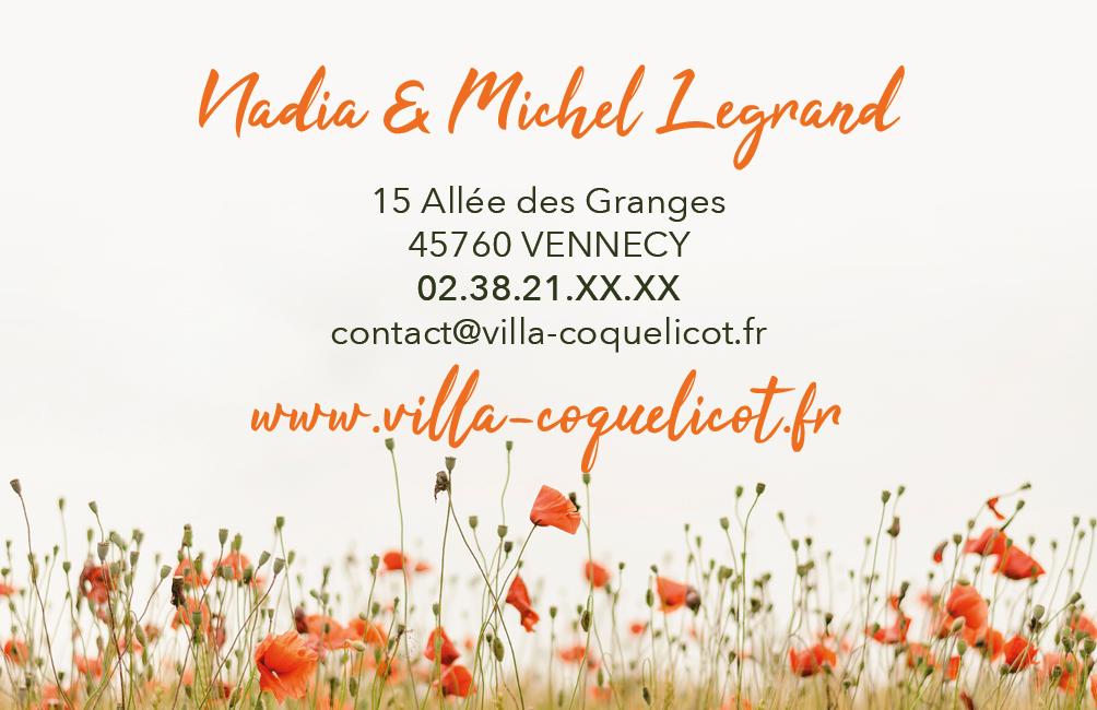 Création carte de visite La Villa Coquelicot